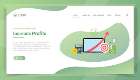 profit financial increase for business for website template or landing homepage vector
