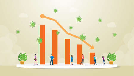 economy crisis with graph or chart decrease down because or corona covid-19 concept with modern flat style vector