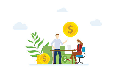 financial consultation concept with man and woman female discussion about financial money with modern flat style - vector Ilustração