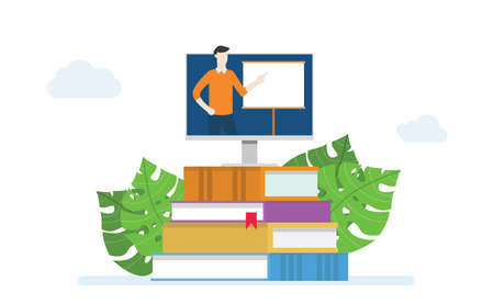 e-learning or online class concept education with instructor teaching on monitor screen in book stack with modern flat style - vector