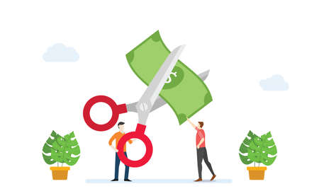 cost reduction or cutting budget finance concept with scissors and people cut money with modern flat style vector