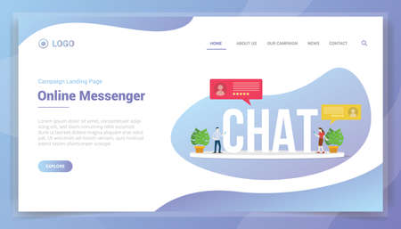 chat online messaging concept for website template or landing homepage - vector