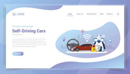 self driving cars technology concept with artificial intelligence for website template or landing homepage - vector