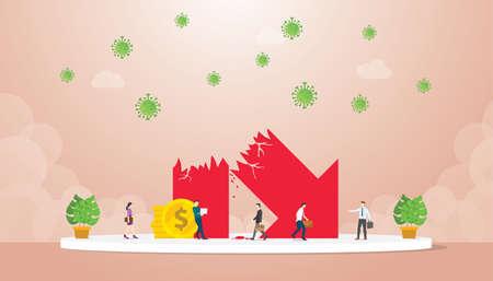 Symbol economic growth collapsed near businessman impact corona virus modern flat cartoon style vector illustration. Vettoriali