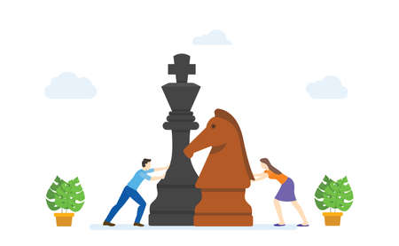 Men and women play big chess pieces concept strategy business modern flat cartoon style vector illustration.
