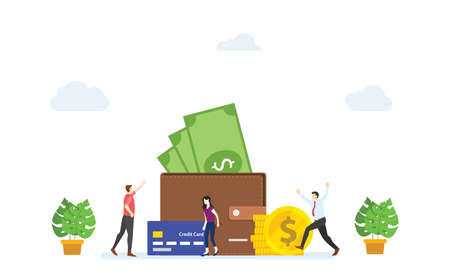 people happy in front of large wallet filled money. concept salary payment modern flat cartoon style vector illustration.