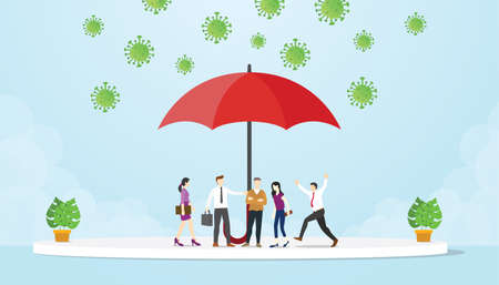 People under the umbrella avoid corona virus attack modern flat cartoon style vector illustration.