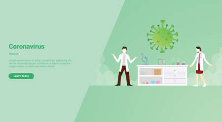 Corona virus campaign concept for website template landing or home page website.modern flat cartoon style vector illustration.