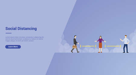 Social Distancing campaign concept for website template landing or home page website.modern flat cartoon style vector illustration. Ilustração