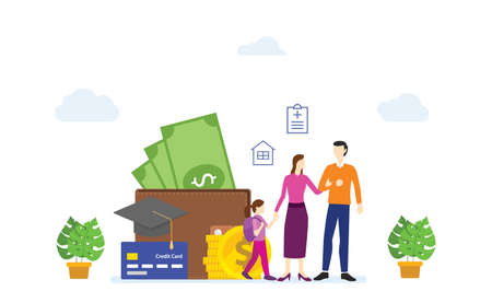 Families work together to save money to plan their financial future. modern flat cartoon design vector illustration. Ilustração