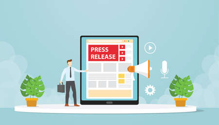 Public relations make press releases through company blogs. Modern flat cartoon design vector illustration. Ilustrace