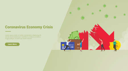 Corona Virus Economy Crisis campaign concept for website template landing or home page website modern flat cartoon style vector illustration. Ilustração