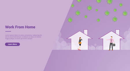 Work From Home campaign concept for website template landing or home page website modern flat cartoon design vector illustration. Ilustração
