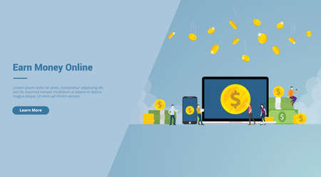 earn money online business for freelancer with laptop and smartphone and cash money with modern flat style for website template landing homepage vector