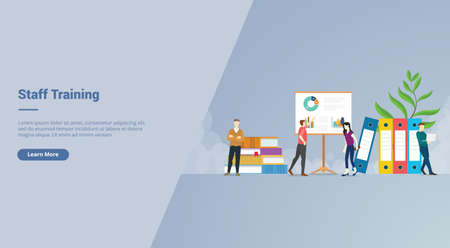 Staff Training campaign concept for website template landing or home page website modern flat cartoon style vector illustration. Ilustração