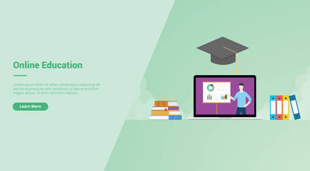 Online Education campaign concept for website template landing or home page website modern flat cartoon style vector illustration. Ilustração