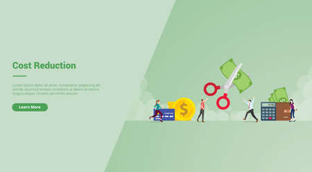Cost Reduction campaign concept for website template landing or home page website modern flat cartoon style vector illustration.