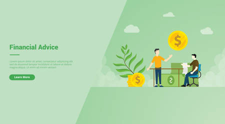 Financial Advice campaign concept for website template landing or home page website modern flat cartoon style vector illustration.