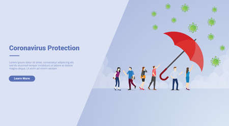 Corona Virus Protection campaign concept for website template landing or home page website modern flat cartoon style vector illustration.