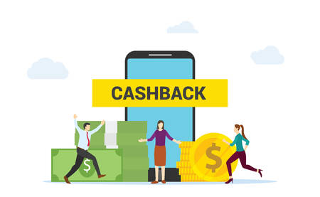 Cashback concept people happy get cashback by shopping online on smartphone apps ecommerce modern flat design vector illustration.