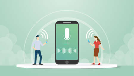 Male and female character take advantage technology of voice control features on smartphones flat style design vector illustration.