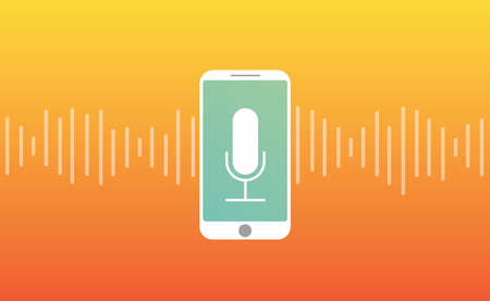 Personal assistant sound wave intelligent with smartphone Microphone icon, voice and sound recognition flat style design vector illustration.