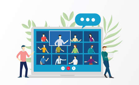 People video conference virtual meeting discussion about business education online training school courses flat cartoon style vector design