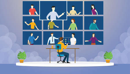 meeting through video conference application on computer flat cartoon style vector design