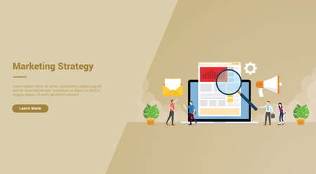 arketing strategy business people search market data advertise promotion brand campaign for web website home homepage landing template banner with cartoon style.