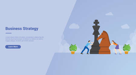 Business strategy men and women play big chess pieces campaign for web website home homepage landing template banner with cartoon style.
