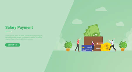 Salary payment people very happy earning money in big wallet campaign for web website home homepage landing template banner with cartoon style.