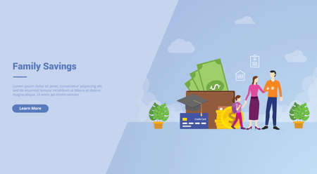 Family savings financial planing to medical insurance house education campaign for web website home homepage landing template banner with cartoon style Ilustração
