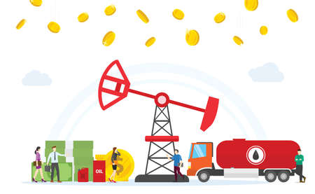 Oil and gas business concept profit with oil drilling machine and money gold coin with modern flat style