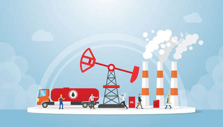 Oil and gas concept with truck tanker and oil refinery industry with people