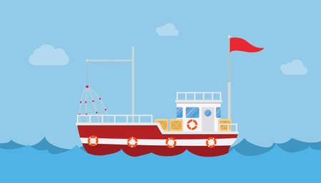 Fishery boat alone in the sea ocean with blue water and clean sky with modern flat style 向量圖像
