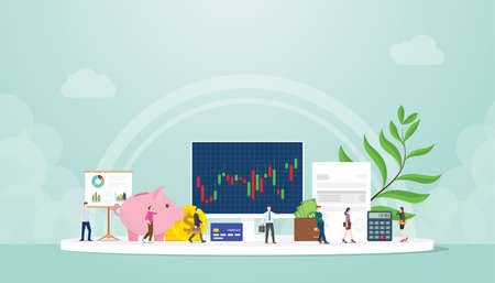 stock market finance concept trading with people businessman and graph chart on computer screen with modern flat style 向量圖像