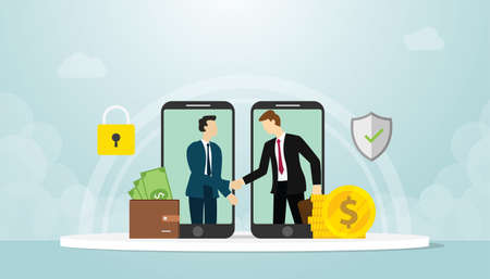 mobile deal concept with businessman handshake with money and security contract with modern flat style