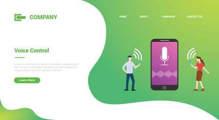 voice control technology concept with smartphone and people for website template or landing homepage template banner 向量圖像