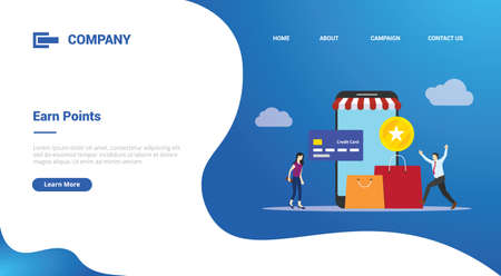 earn points business people reward concept for website template or landing homepage template banner 向量圖像