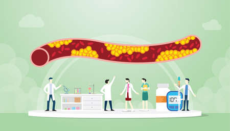 cholesterol in human vein with team people doctor analyze modern flat style