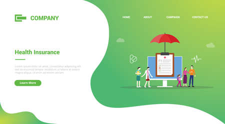 health insurance concept with medical record family for website template or landing homepage template banner
