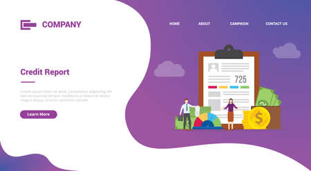 credit report business finance data report for website template or landing homepage template banner 向量圖像