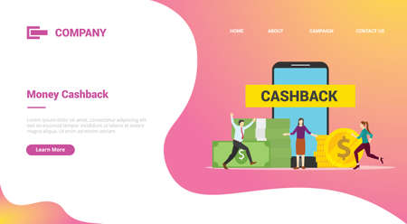 cashback bonus reward business with people and money for website template or landing homepage template banner