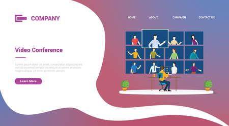 video conference with computer desktop and people online talks for website template or landing homepage banner 向量圖像