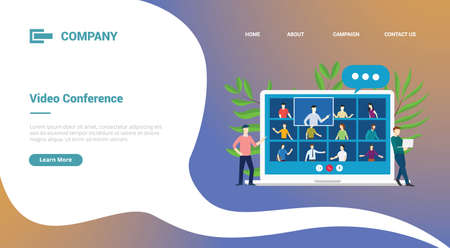 video conference with laptop and team talks for website template or landing homepage banner