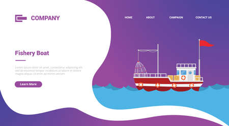 fishery boat or ship in sea for website template or landing homepage banner 向量圖像