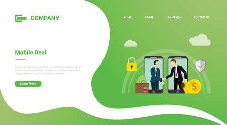 mobile deal between businessman online deals for website template or landing homepage banner