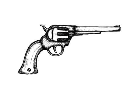 hand gun pistols for wild west icon sketch hand drawn illustration isolated with white background