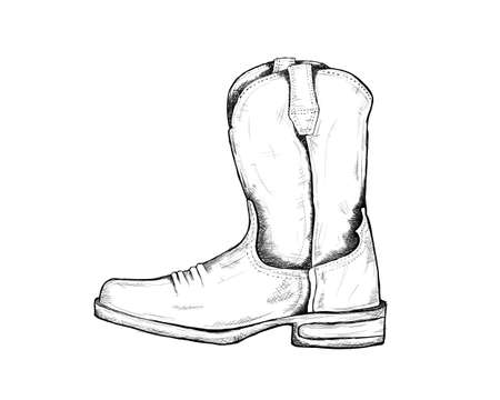cowboy boots for wild west icon sketch hand drawn illustration isolated with white background 向量圖像