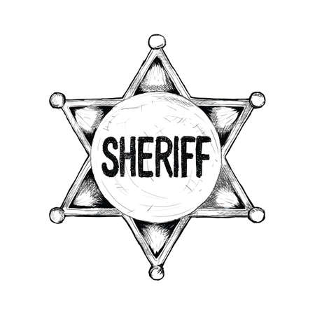 sheriff badge for wild west icon sketch hand drawn illustration isolated with white background